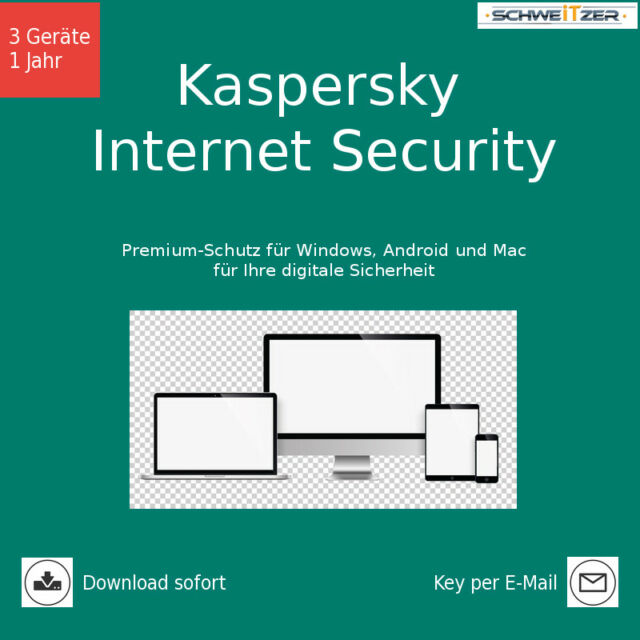 Kaspersky Internet Security, Upgrade, 3 Geräte, 1 Jahr, Download (2018)