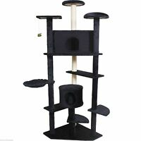 80 Cat Tree Condo Furniture Scratch Post Pet House Beige/navy/beige Paws