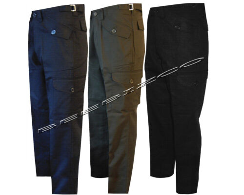 New Mens Work Wear Cargo Combat Black/ Navy/Olive Trousers Pants 29& 31 Leg