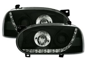 FAROS-LUCES-ANTES-DEVIL-EYES-NEGRO-CRISTAL-LED-VW-VOLKSWAGEN-GOLF-3-1991-1997