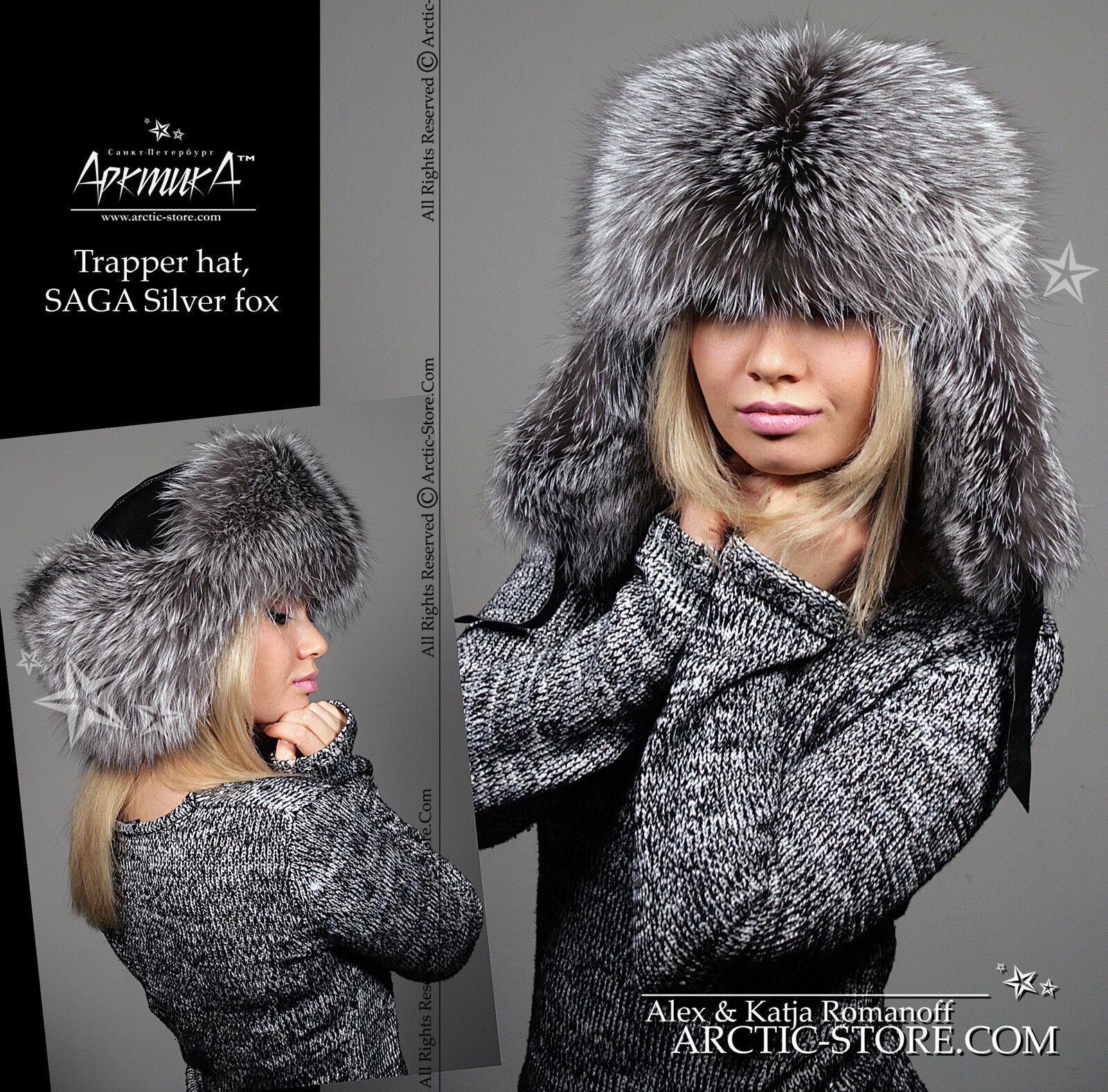 ARKTIKA  Russian Silver Fox Women's Men's Fur Hat Ushanka Trooper Trapper Trooper Ushanka Shapka 28a4eb