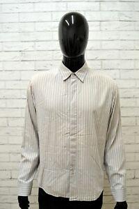 Camicia-CALVIN-KLEIN-Uomo-Taglia-Size-XL-Maglia-Shirt-Man-Manica-Lunga-a-Righe