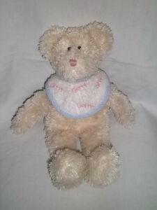 "BOYDS BEARS 13"" Plush Baby BEAR Grrrr BIB Rattles Stuffed Animal Toy Tan Teddy"