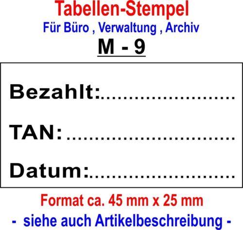 Muster 9 Tabellenstempel STEMPEL VERWALTUNG BUCHFÜHRUNG  Archivierung