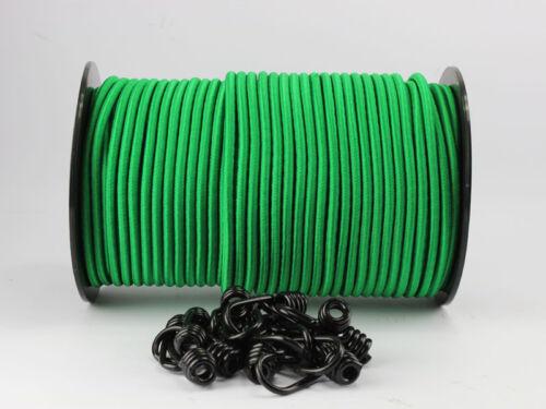 10 Spiralhaken Gummiseil Planenseil Haken Seil Plane 8mm Expanderseil grün 20m