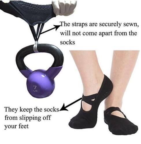 Ladies Women Sports Cotton Rich Pilates Yoga Non-Slip Grip Socks Quick-dry