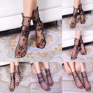 Women/'s Ladies Ruffle Fishnet Ankle High Socks Mesh Lace Fish Net Short Socks