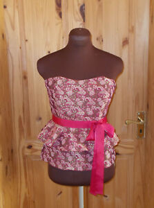 Peplum Pink Top Stretch Corset Next Cream Metallic 10 Party Floral Gold Paisley W8wxwdqSvO