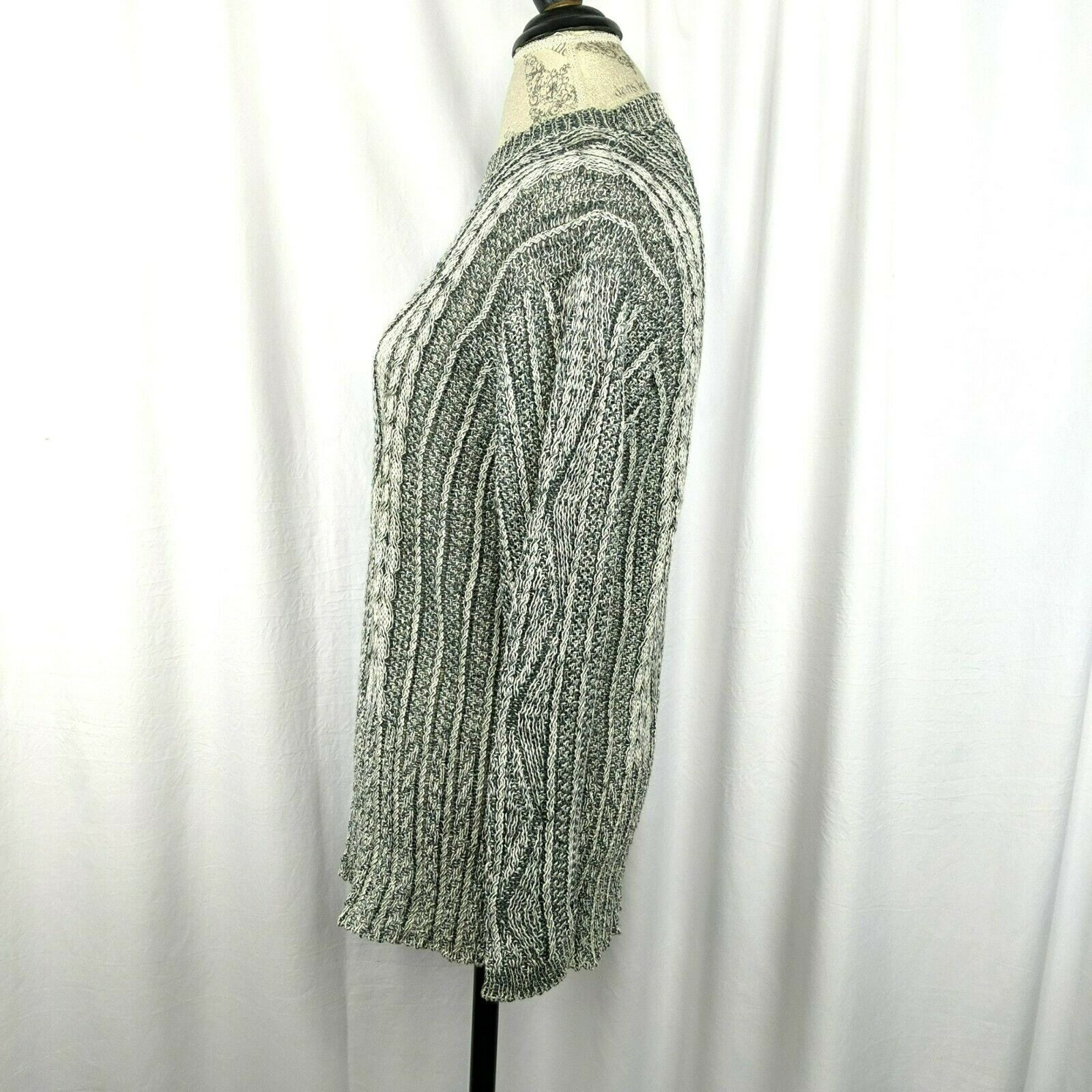 Inis Meain Gray Cream Linen Cable Knit Sweater Sz… - image 5