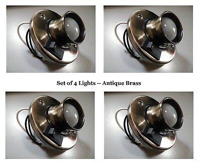 NEW 4 PCS RV 12V DIRECTIONAL READING LIGHTS ANTIQUE BRASS W/ SWITCH & BULB L8022