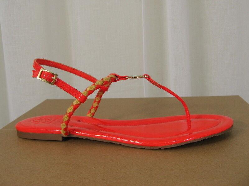 NEW TORY BURCH Aine Woven orange Patent Patent Patent Leather Logo Flat Thong Sandal Size 10.5 59ccfa