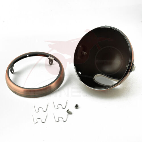 """Copper Motorcycle 5.75/"""" LED Round Headlight Shell Bucket Housing For Harley"""