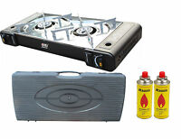 Portable Gas Stove Cooker 2 Burners Camping Outdoor Bbq Caravan Case Ps-268