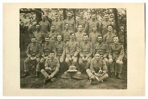 Antique-WW1-military-RPPC-postcard-photograph-British-army-soldiers-with-dogs