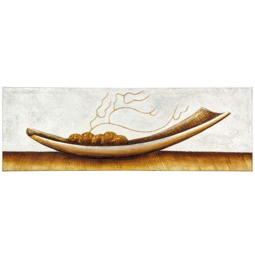 Wandbild Ölgemälde handgefertigt 50 x 150 cm Schale hellgrau beige braun