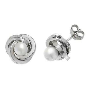 9ab59d2b4 Pair of 9ct White Gold 8mm Twisted Knot & Pearl Stud Earrings Weight ...