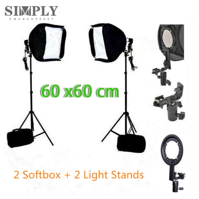 "24""60cm Speedlite Speedlight Flash Light Diffuser Studio Softbox Light Stand Kit"
