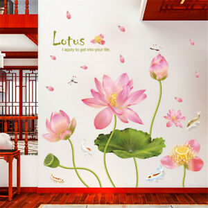 Pink Lotus Flower Fish Room Home Decor Removable Wall Stickers