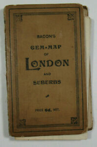 1904-Old-Antique-Bacon-039-s-Gem-Of-London-and-Suburbs-With-Street-Index