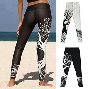 923269ac95da0 Image is loading Womens-Long-Leggings-Tree-Pattern-Fitness-Pants-Sports-