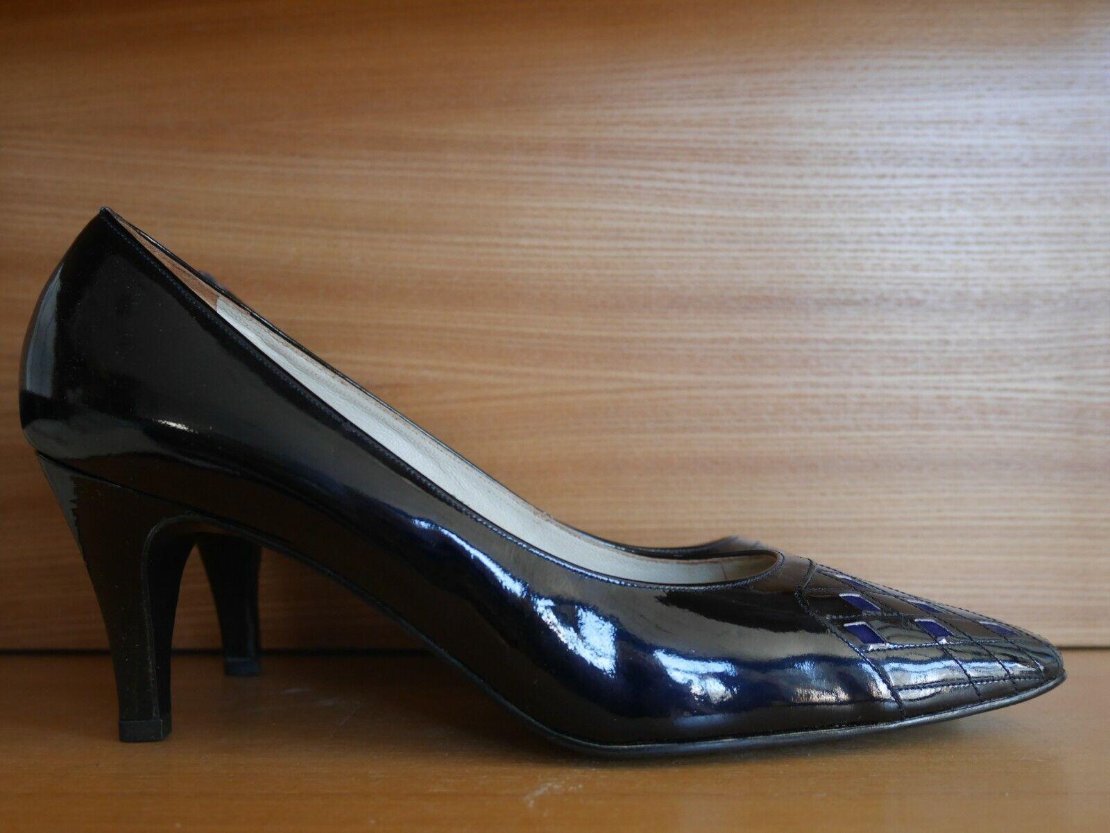 Libelle 6 1 2 2 2 Stiletto Pumps 80er schwarz LackLeder TRUE VINTAGE high heels 80s d812d0