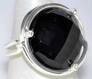 Grande-Negro-Onix-Anillo-de-plata-esterlina-925-Redondo-Corte-Facetado-Gema