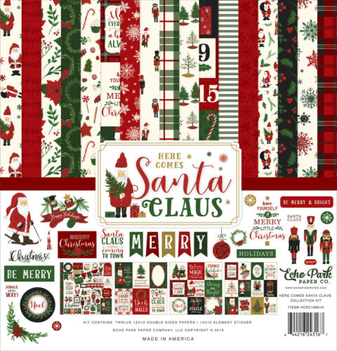 Here Comes Santa Clause 12x12 Scrapbook Kit Papers Echo Park Stickers