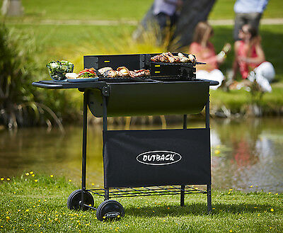 Outback Half Drum Barbecue Charcoal BBQ 2 Adjustable Cooking Grills & Side Table