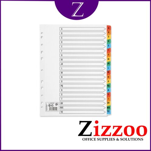 A-Z FILE DIVIDERS A4 WITH COLOURED ALPHABETICAL INDEX TABS IN VARIOUS QTY