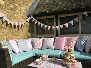 VINTAGE-Waterproof-Outdoor-rivestito-in-PVC-GIARDINO-sedile-a-panchina-in-gommapiuma-Bunting