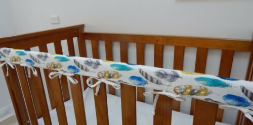 Cot Rail Cover Crib Teething Pad Coloured Feathers  x 1