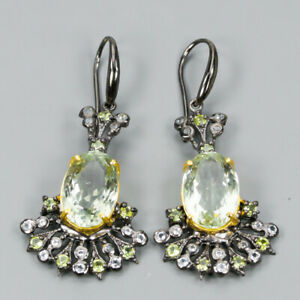 Jewelry-For-Wedding-Natural-Green-Amethyst-925-Sterling-Silver-Earrings-E30804