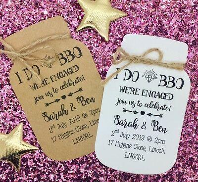 """Il Migliore I Do """"bbq"""" Invito Festa Di Fidanzamento Salva La Data Card, Mason Jar-mostra Il Titolo Originale"""