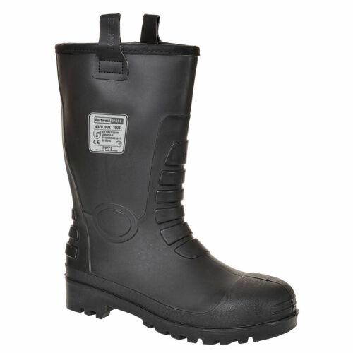 Portwest Neptune PVC S5 Rigger Steel Toe Cap Safety Wellingtons Work Boots Black