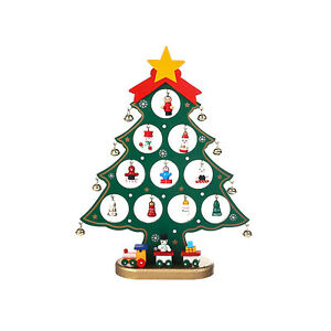 Mini Wood Christmas Tree Tabletop Desk Ornaments Xmas DIY Home Decor Ornament