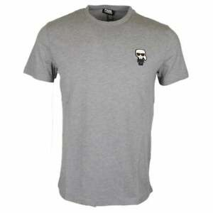 Karl Lagerfeld Cotton Doll Badge Logo Grey T-Shirt