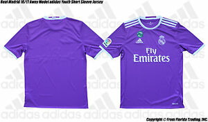 c991dc7c24f Real Madrid 16 17 Away Model adidas Youth SS Jersey(M)Ray Purple ...