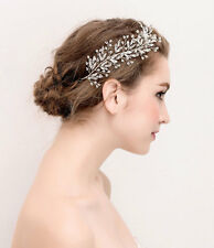 Plata Diamante Cristal De Novia Boda Pelo Vid casco accesorios de 1 piezas