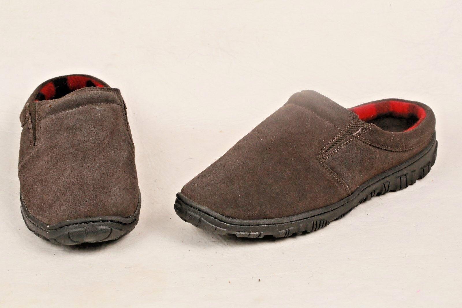 CLARKS NEW Clog Casual Men Shoe Leather Suede Brown 11 Buffalo Plaid Fleece Line