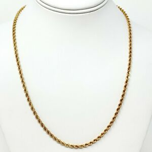 14K-Solid-Yellow-Gold-3mm-Rope-Chain-Necklace-Mens-Women-16-034-18-034-20-034-22-034-24-034-30-034