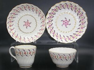 Details About Antique Worcester Flight Period Coffee Cup Tea Bowl With Saucers 1792 1804