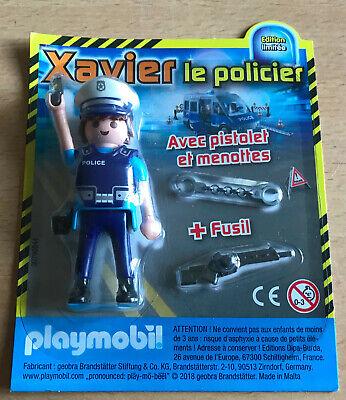 FIGURINE PLAYMO PLAYMOBIL DE MAGAZINE : XAVIER LE POLICIER AVEC PISTOLET MENOTTE   eBay