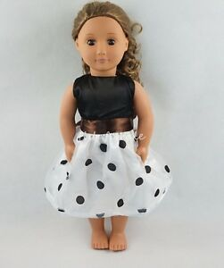 Black & White Wave Point Dress Skirt For 18''American Girl Doll Clothes Gifts