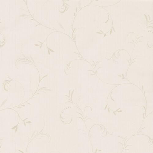 SERIANO ENGLISH ROSE CREAM LEAF TRAIL ITALIAN HEAVYWEIGHT VINYL WALLPAPER GB9284