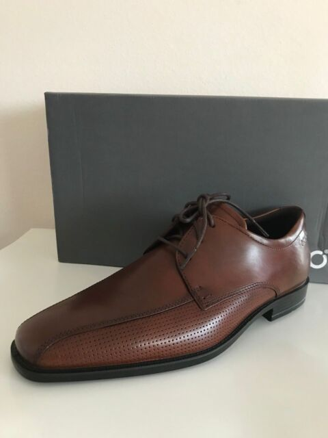 NEW ECCO EDINBURGH PERFORATED TIE OXFORD LACE MEN'S LEATHER SHOES MINK
