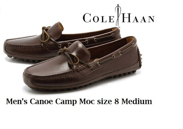 29bd3cf34a8 Cole Haan Men s 8 Medium Dark Brown Grant Canoe Camp Driving Moc-toe Shoes