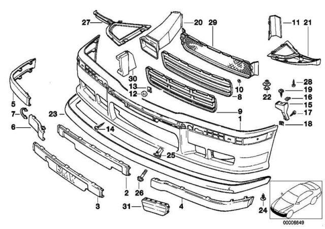 Buy Bmw E36 M Tech Technic Front Bumper Trim Strip 2265639 Online