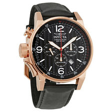 Invicta I-Force Chronograph Black Dial Black Leather Mens Watch 20138