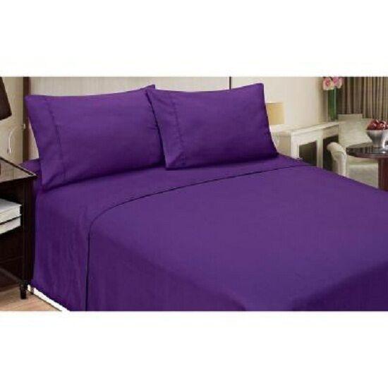 Bettbezug Set Breites Doppelbett Lila Massiv 1000 Fadenzahl Ägyptische Baumwolle