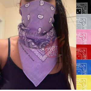 Lot-3-PCS-Women-039-s-Bandana-Scarves-Paisley-Head-Face-Mask-Wrap-Scarf-100-Cotton